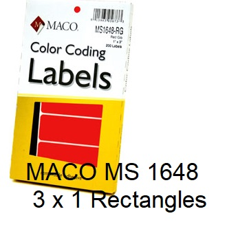 """MACO MS 1648 - 1"""" x 3"""" Removable Color Coding Rectangle Labels"""