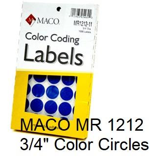 "3/4"" Removable Color Coding Circle Labels"