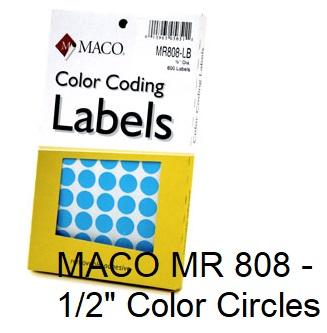 "MR 808 1/2"" Removable Color Coding Circle Labels"