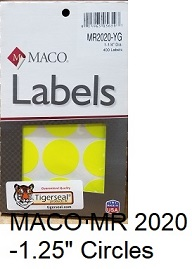"""MACO MR 2020- 1 1/4"""" Removable Color Coding Circle Labels"""